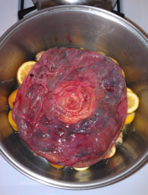 Placenta ready to be steamed with lemon and ginger